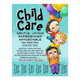 Childcare. Garde d'enfants. Soin de jour. Feuille Prospectus Customisé