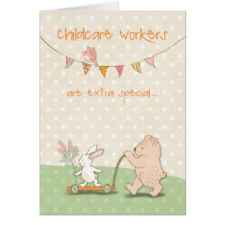Childcare Worker Thanks Bear and Bunny Card