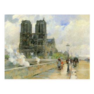 Childe Hassam - Cathedral of Notre Dame 1888 Postcard