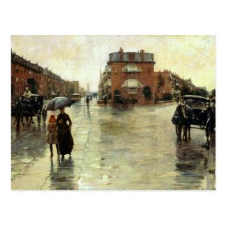 Childe Hassam - Rainy Day, Boston Postcard