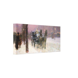 Childe Hassam - Street scene with two cabs Canvas Print