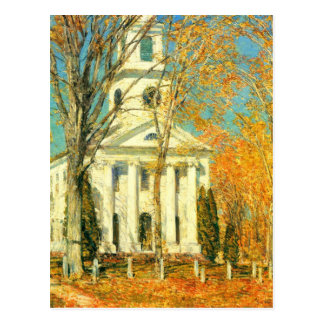 Childe Hassam - The Church of Old Lyme Connecticut Postcard