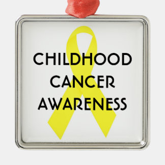Childhood Cancer Awareness Ribbon Silver-Colored Square Ornament