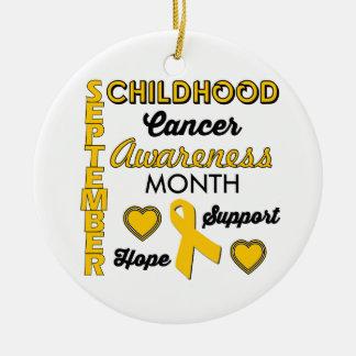 Childhood Cancer Awareness Round Ceramic Ornament
