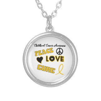 Childhood Cancer Awareness Round Pendant Necklace