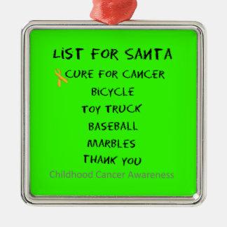 Childhood Cancer Awareness Santa List Boys Silver-Colored Square Ornament