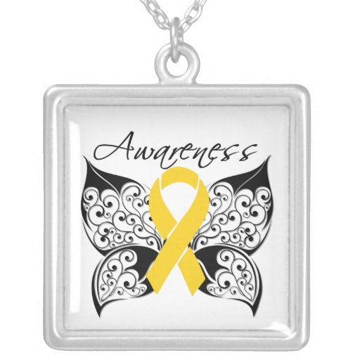 Childhood Cancer Awareness Tattoo Butterfly Custom Necklace