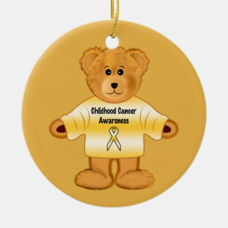 Childhood Cancer Awareness with Teddy Bear Round Ceramic Ornament