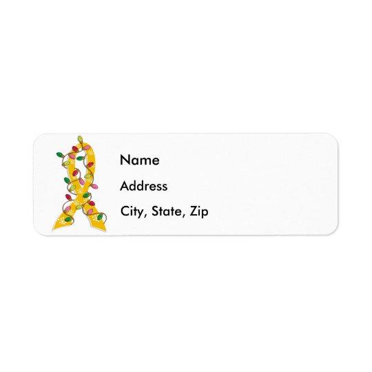 Childhood Cancer Christmas Lights Ribbon Return Address Label
