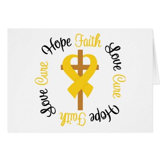 Childhood Cancer Faith Hope Love Cross Card