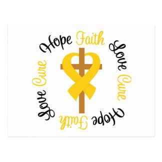 Childhood Cancer Faith Hope Love Cross Post Card