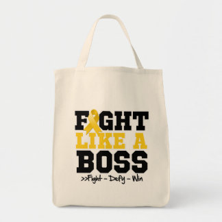 Childhood Cancer Fight Like a Boss Grocery Tote Bag