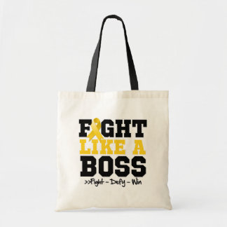Childhood Cancer Fight Like a Boss Canvas Bags