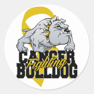 Childhood Cancer Fighting Bulldog Classic Round Sticker