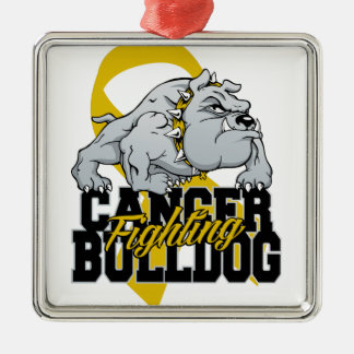 Childhood Cancer Fighting Bulldog Silver-Colored Square Ornament