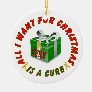 Childhood Cancer Gold Awareness Ribbon Christmas Round Ceramic Ornament