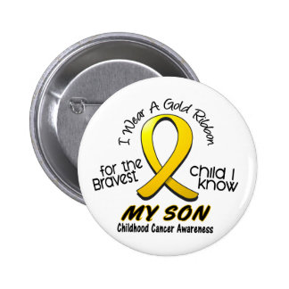 Childhood Cancer I Wear Gold Ribbon For My Son 2 Inch Round Button