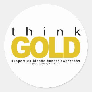 Childhood Cancer Think GOLD Classic Round Sticker