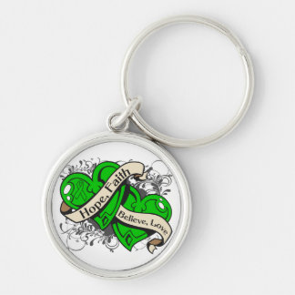 Childhood Depression Hope Faith Dual Hearts Silver-Colored Round Keychain