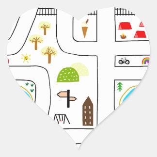Childhood Map Heart Sticker