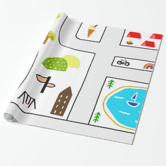 Childhood Map Wrapping Paper