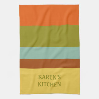 Childhood Vacation Palette Stripe Personalized Kitchen Towel