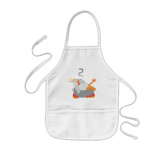 Childish apron is hen chicken and rice soup