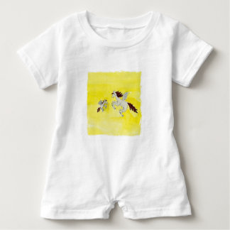Childish Watercolor drawing with Winged Horses Baby Romper