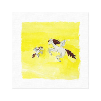 Childish Watercolor drawing with Winged Horses Canvas Print