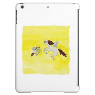 Childish Watercolor drawing with Winged Horses iPad Air Cover