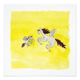 Childish Watercolor drawing with Winged Horses Photo Print