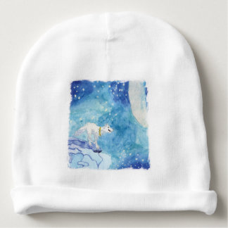 Childish Watercolor painting with snowy wolf Baby Beanie