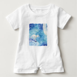Childish Watercolor painting with snowy wolf Baby Romper