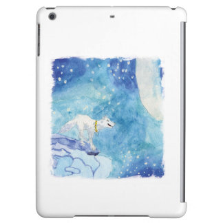 Childish Watercolor painting with snowy wolf iPad Air Cover