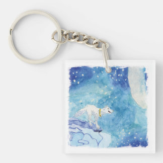 Childish Watercolor painting with snowy wolf Single-Sided Square Acrylic Keychain