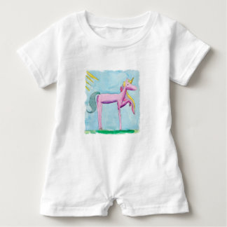Childish Watercolor painting with Unicorn horse Baby Romper