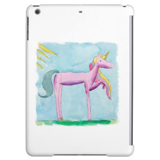 Childish Watercolor painting with Unicorn horse iPad Air Cover
