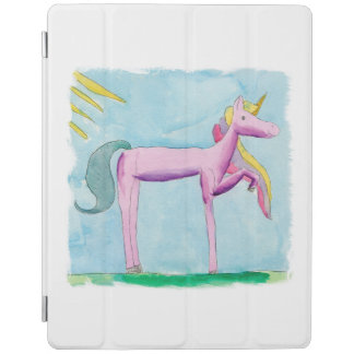 Childish Watercolor painting with Unicorn horse iPad Cover