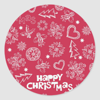 Childlike Christmas doodles Round Sticker