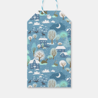 Childlike Winter Scene in Blues Gift Tags Pack Of Gift Tags