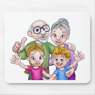 Children and Grandparents Cartoon Characters Mouse Pad