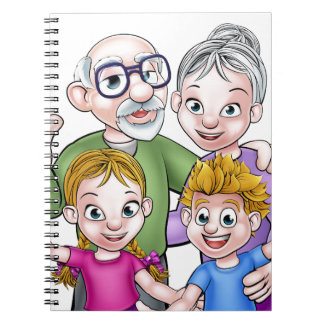 Children and Grandparents Cartoon Characters Notebook