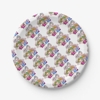 Children and Grandparents Cartoon Characters Paper Plate