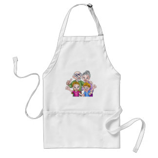 Children and Grandparents Cartoon Characters Standard Apron