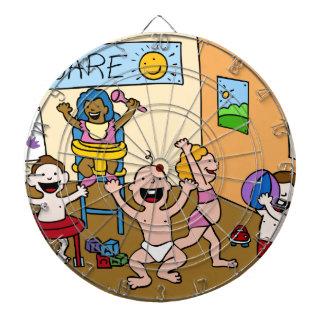 Children At A Daycare Center Cartoon Dartboard With Darts