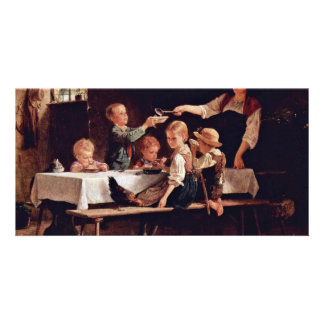 Children At Lunch By Benjamin Vautier  (Best Quali Picture Card
