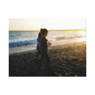 Children at sunset. canvas print