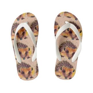 Children beach sandals with handpainted hedgehog