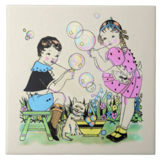 Children Blowing Bubbles - 1930s illustration Tile