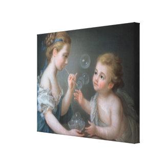 Children blowing bubbles canvas print